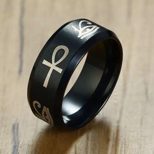 Sz 9 Egypt Eye of Horus Ankh Ring stainless steel